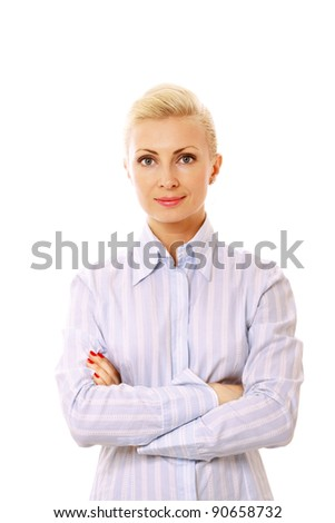 Portrait of  young businesswoman standing with hands folded on white background