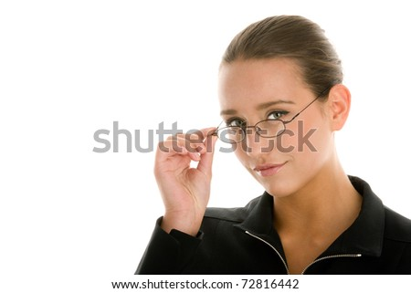 Portrait of young businesswoman with glasses - stock photo