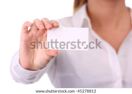portrait of young businesswoman with white card