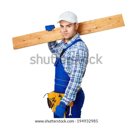 Portrait of young carpenter carrying wooden plank over his shoulder isolated on white background - stock photo