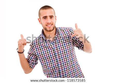 Portrait of young casual man smiling, isolated on white - stock photo