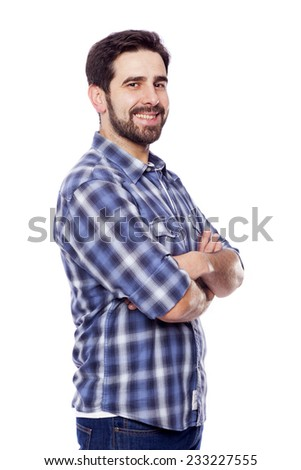 Portrait of young casual man smiling, isolated on white background