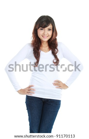 portrait of young casual woman posing in studio over white background - stock photo
