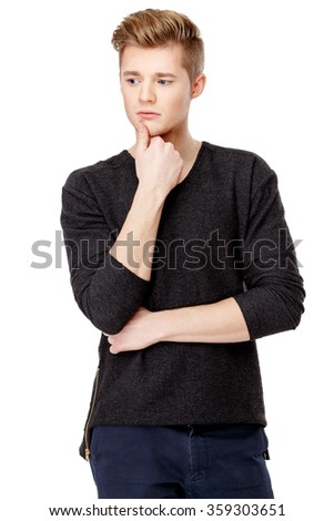 Portrait of young caucasian man isolated on white