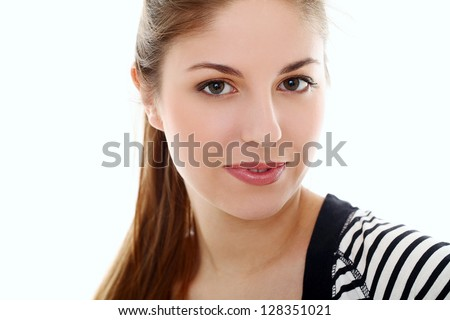 Portrait of young caucasian woman isolated over white background - stock photo