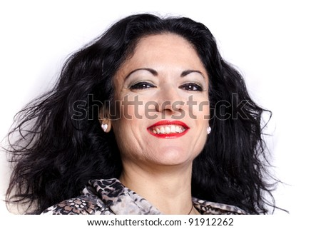 Portrait of young caucasian woman smiling, on white background.