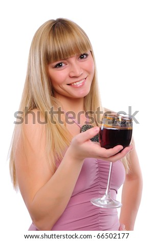 portrait of young charming girl with a glass of red wine in hand - stock photo