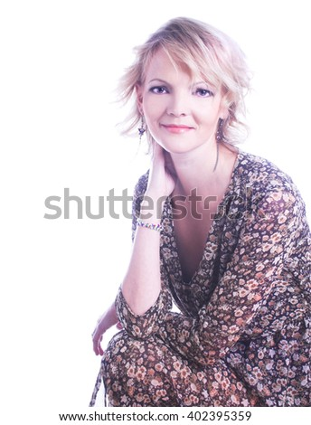 Portrait of young charming woman with blond hair. - stock photo