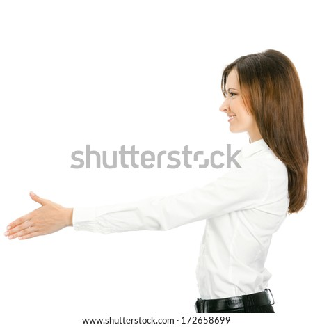 Portrait of young cheerful beautiful business woman giving hand for handshake, isolated on white background - stock photo