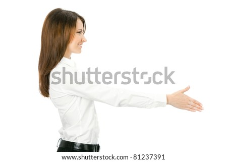 Portrait of young cheerful beautiful business woman giving hand for handshake, isolated on white background