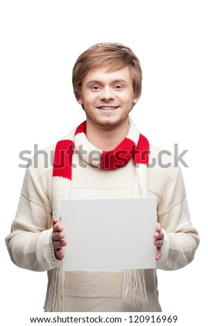portrait of young cheerful happy caucasian man which holding sign with nice smile