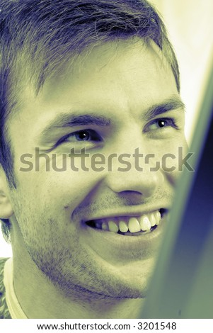 Portrait of  young, cheerful, smiling nice guy, close up