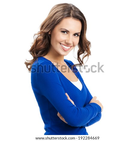Portrait of young cheerful smiling woman, isolated over white background - stock photo