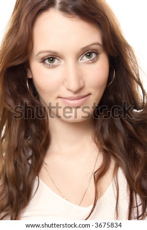 portrait of young cheerful woman, over white background