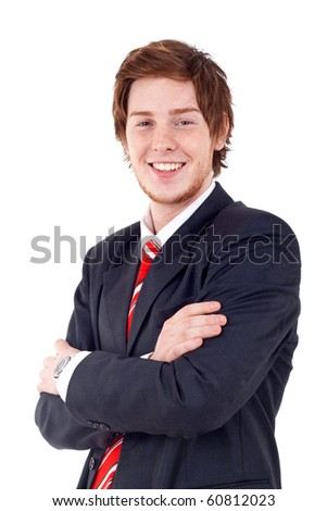 Portrait of young confident business man isolated on white background - stock photo