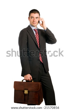 Portrait of young confident businessman with phone and working bag isolated on white background - stock photo