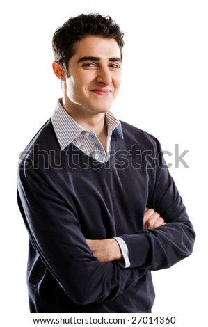 Portrait of young confident man looking at camera - stock photo