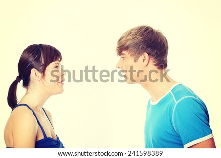 Portrait of Young couple arguing - stock photo