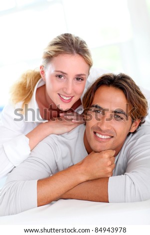 Portrait of young couple at home