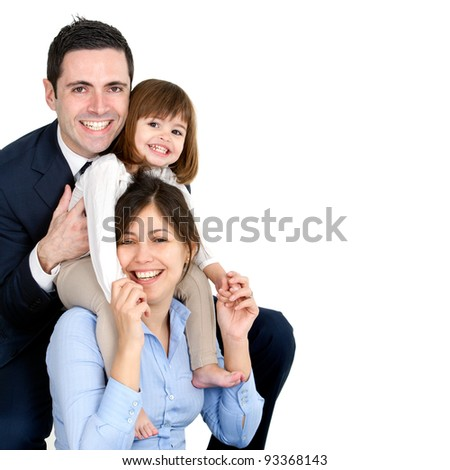 Portrait of young couple having fun with their daughter. Isolated on white background. - stock photo