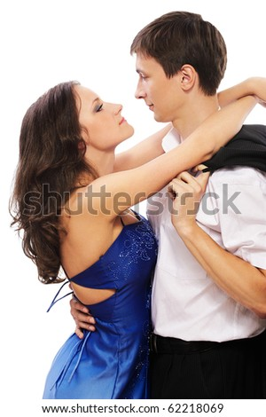 portrait of young couple posing on white - stock photo