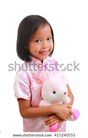 Portrait of young cute girl on white background - stock photo
