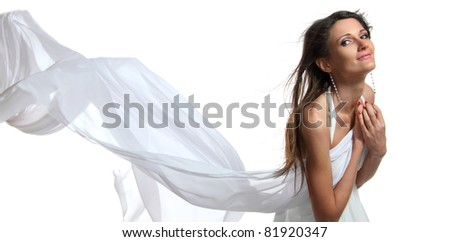 Portrait of young dancing girl with smart fair hair - stock photo