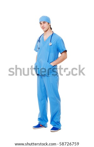 portrait of young doctor in blue uniform. isolated on white background - stock photo