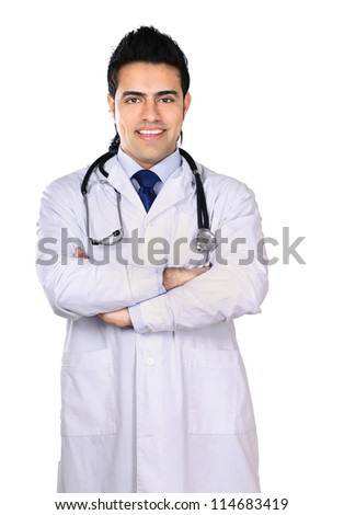 Portrait of young doctor with stethoscope isolated on white background