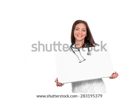 portrait of young doctor with stethoscope showing clipboard with copy space for text or design. nurse holds an empty plate in hand - stock photo