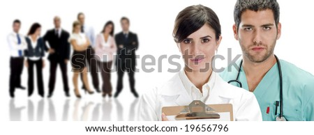 portrait of young doctors with their team - stock photo
