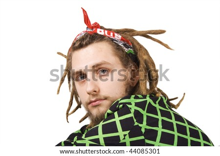 portrait of young dreadlock man isolated - stock photo