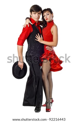 Portrait of young elegance tango dancers. Isolated over white background - stock photo