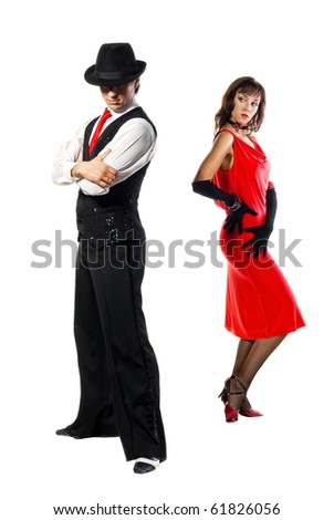 Portrait of young elegance tango dancers posing. Isolated over white background
