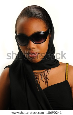 Portrait of young elegant african american girl with sunglasses isolated - stock photo