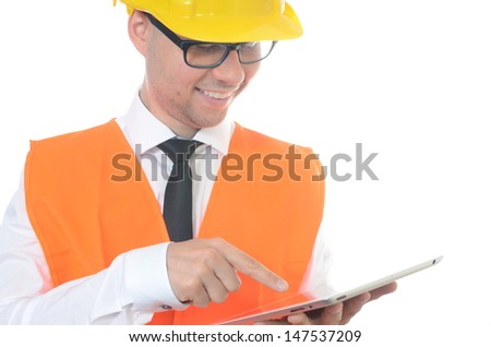Portrait of young engineer isolated on white
