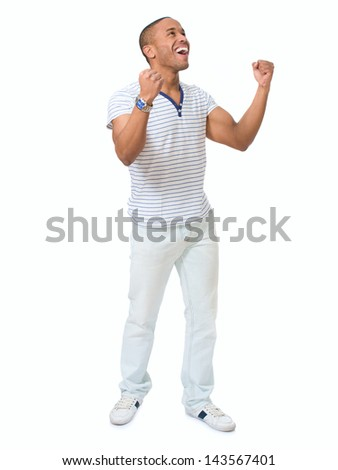 Portrait Of Young Excited African Man Isolated Over White Background - stock photo