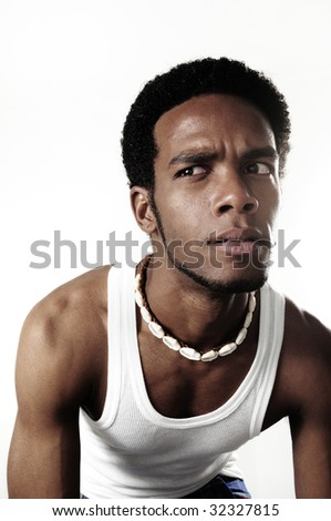 Portrait of young expressive african american male isolated - stock photo
