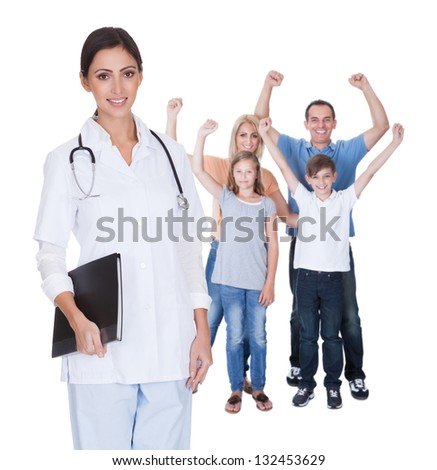 Portrait Of Young Family Doctor. Isolated On White - stock photo
