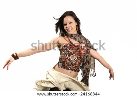 Portrait of young fashion woman with open arms isolated on white - stock photo