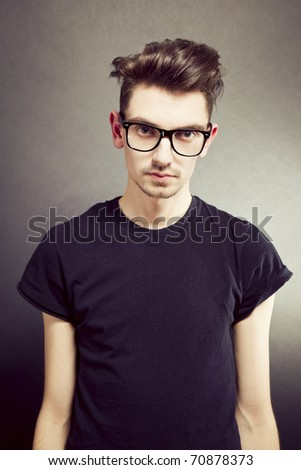 Portrait of young fashionable man - stock photo