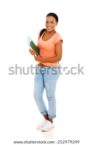 portrait of young female african university student on white - stock photo