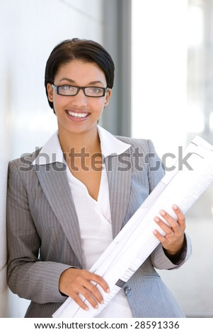 Portrait of young female Architect - stock photo