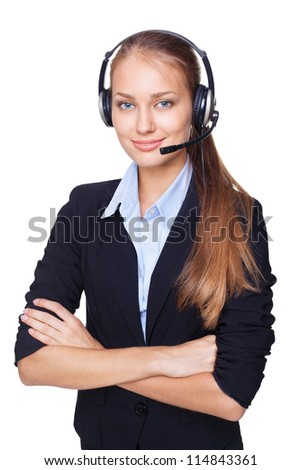 Portrait of young female call centre employee with a headset on white background - stock photo