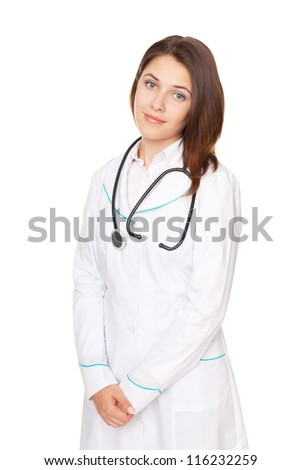 Portrait of young female doctor with arms crossed isolated on white background - stock photo