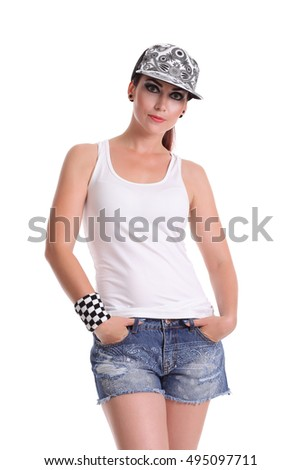 Portrait of young female in white t-shirt in a cap