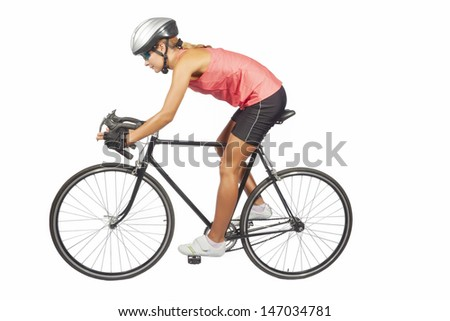 portrait of young female professional cycling athlete posing with racing bike.model equipped with professional sport gear, isolated over pure white background. horizontal shot - stock photo