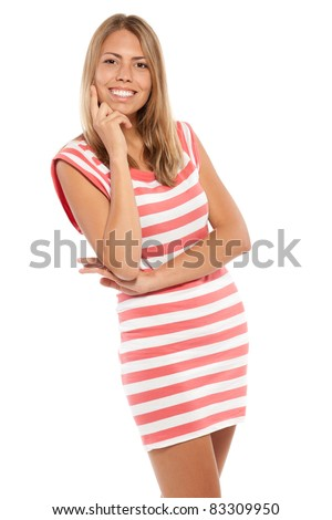 Portrait of young female smiling over white background - stock photo