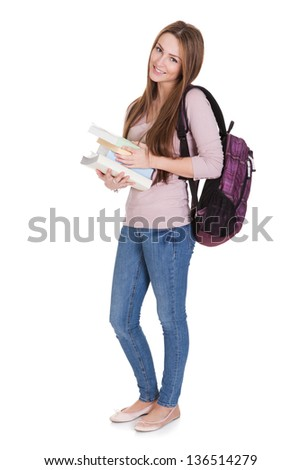 Portrait Of Young Female Student Isolated On White Background