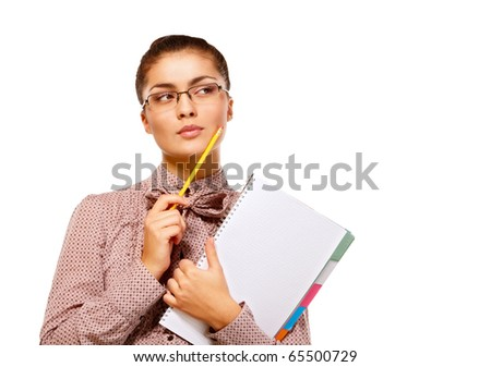 Portrait of young female student over isolated white background - stock photo